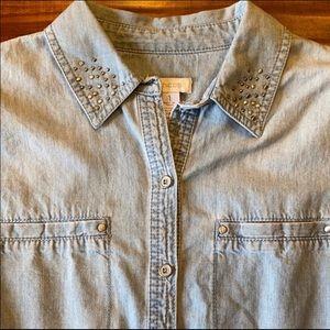 Chico's Tops - Chico's Denim Button Down W/Stud Embellishments